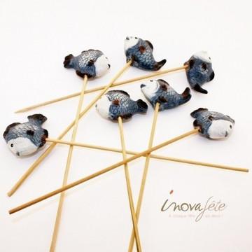 Poisson bleu en terre cuite - Label Fête