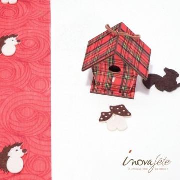 Décor nichoir à oiseau en bois motif tissus écossais Label Fête