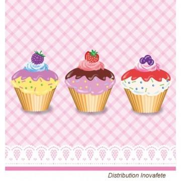 Serviettes papier décor cup cake 33x33 cm - Label Fête