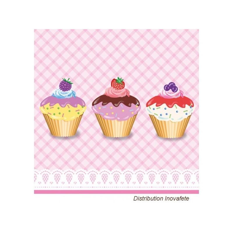 Serviettes papier décor cup cake 33x33 cm