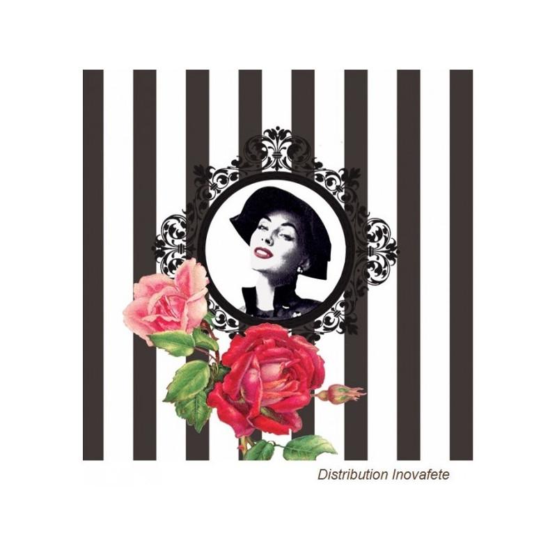 Serviettes papier décor mode noir & blanc 33x33 cm