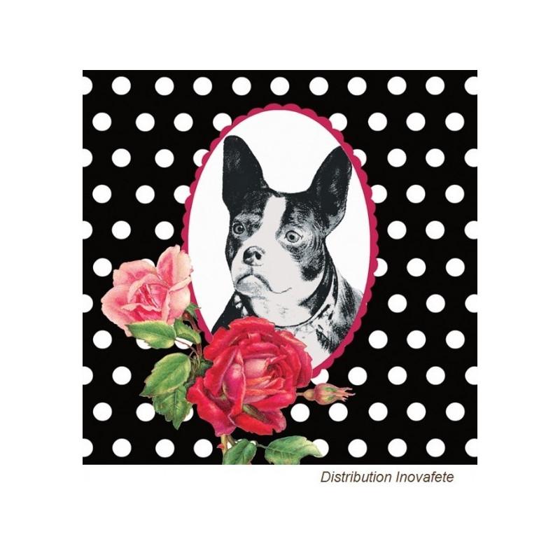 Serviettes papier décor chien bouledogue francais 33x33 cm