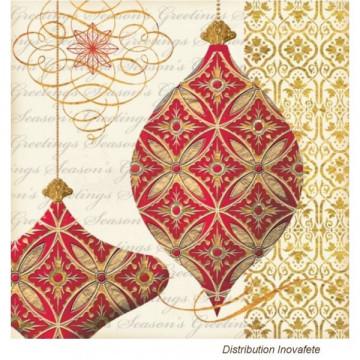 Serviettes papier décor Noel Rouge et Or 33x33 cm