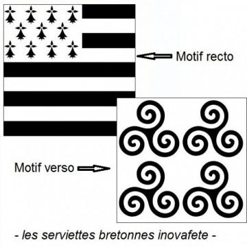 Serviettes Bretonnes Gwenn ha Du 33x33 cm