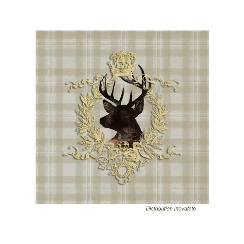 Serviettes papier décor thème chasse 33x33 cm