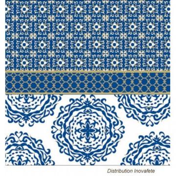 Serviettes papier décor bleu et or 33x33 cm