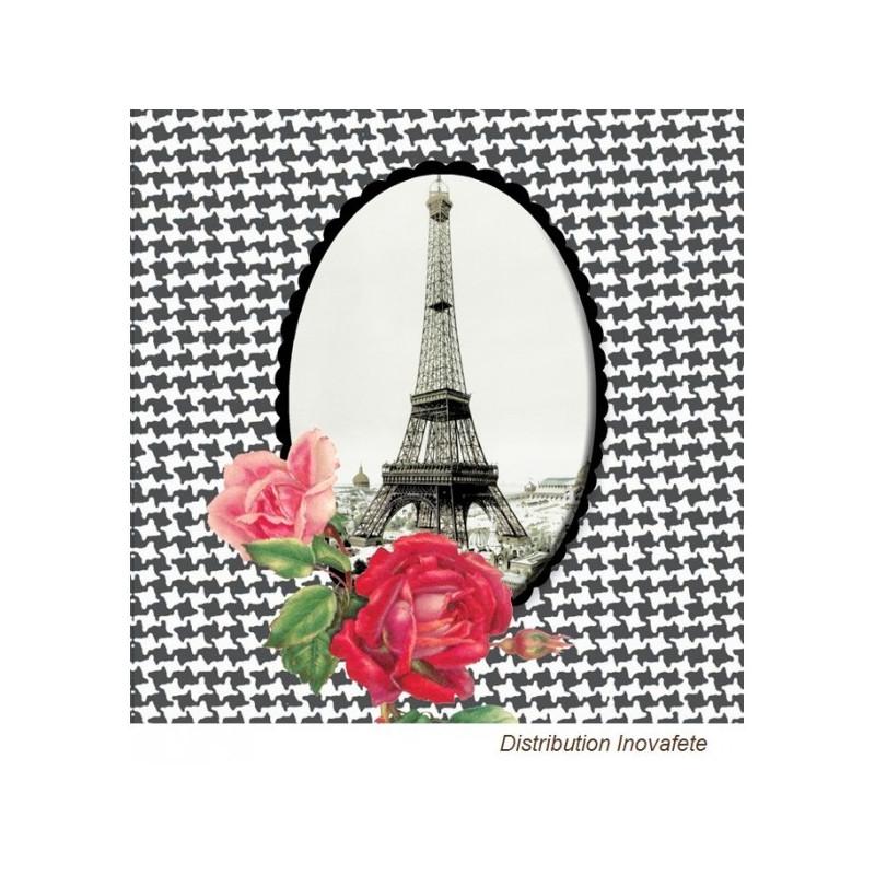 Serviettes papier décor Paris noir & blanc 33x33 cm - Label Fête