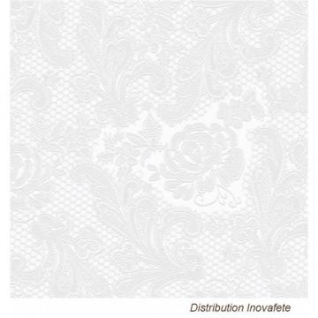 Serviettes blanche décor chic 33x33 cm - Label Fête