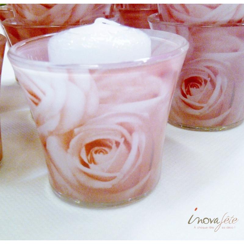 Photophore en verre avec décor de roses - Label Fête