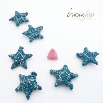 Etoile en sisal turquoise et fil d'argent /6