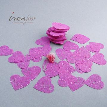 Coeur fuchsia pailleté polytulle en sachet de 240 pièces - Label Fête