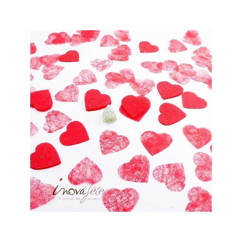 Cœur rouge pailleté polytulle sachet de 240 pièces - Label Fête