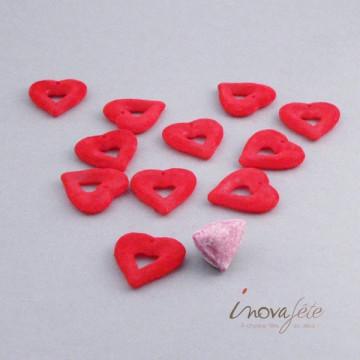 Coeur floqué rouge à accrocher ou à poser Label Fête
