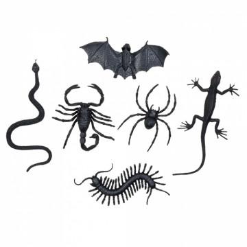 Sachet de 6 insectes assortis serpent, araignée, chauve souris, lézard, scorpion, vers millepattes