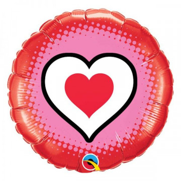 Ballon rond motif Coeur Qualatex 78545