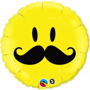 Ballon Smile jaune avec Moustache Qualatex 60053
