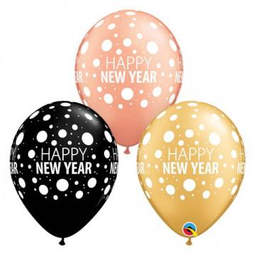 Ballons à pois en latex 100% biodégradable Happy New Year Bonne et joyeuse année 80679