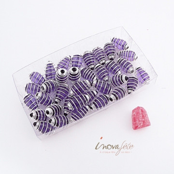 Perle violette et argent Label Fête Hillion