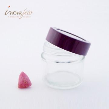 Petit pot en verre à couvercle prune