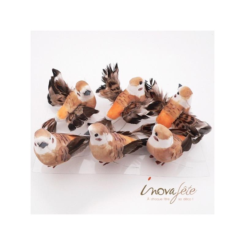 Oiseau orange chocolat /6, un air de légèrté pour vos décos de table