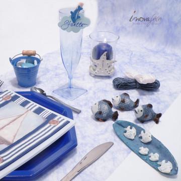Petit seau dragées métal bleu - Label Fête