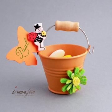Seau orange mat poignée bois - Label Fête
