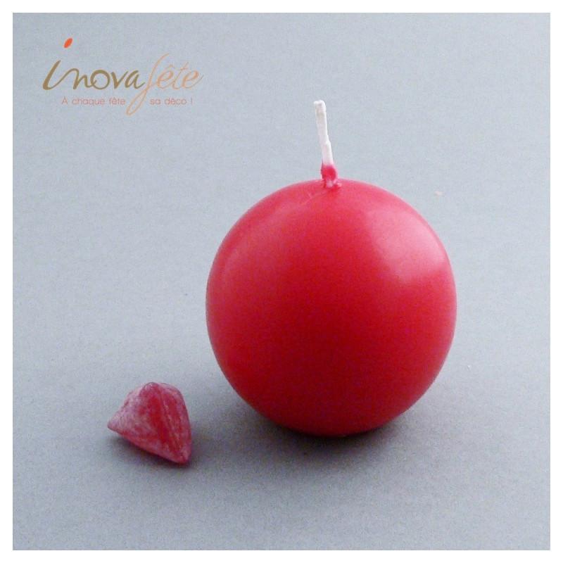 Bougie boule rouge 60mm - Label Fête