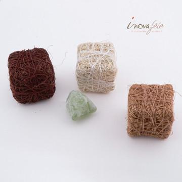 Cubes sisal tricolore chocolat /24 - Label fête