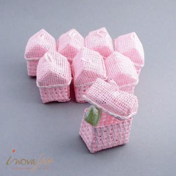 Petite maison tressée rose /8 - Label Fête