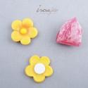 Pince fleur rose et argent /12