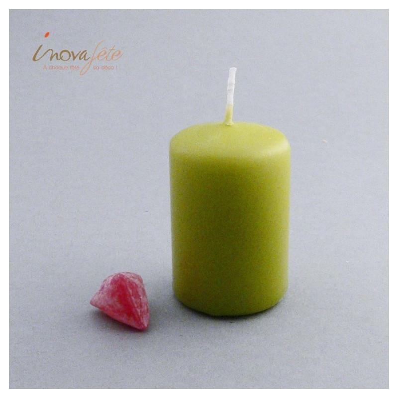 Bougie cylindrique vert olive - Label Fête