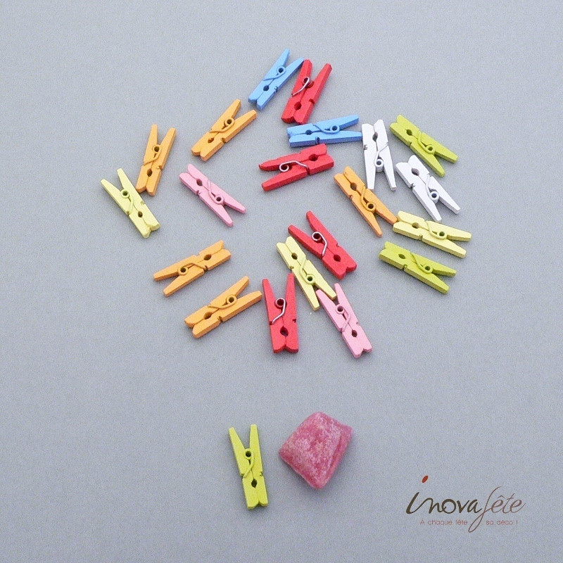 Petite pince bois multicolore /68 - Label Fête