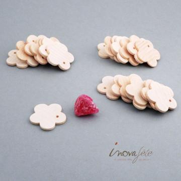 Fleur bois naturel /24 - Label Fête