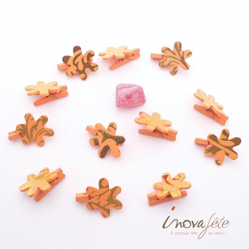 Pince fleur orange et or /12 Label Fête