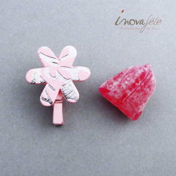 Pince fleur rose et argent /12 - Label Fête
