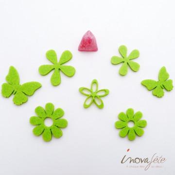 Fleurs et papillons assortis en feutre vert anis /32 - Label Fête