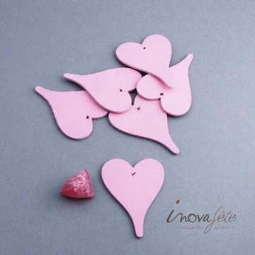 Cœur en bois rose /6 - Label Fête