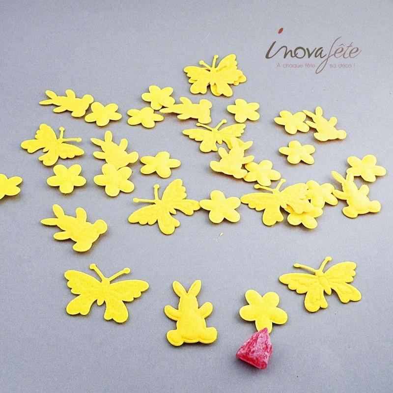 Papillon, lapin et fleur en feutre jaune /24 - Label Fête