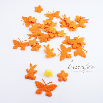 Assortiment de papillon, lapin et fleur orange /24 - Label Fête