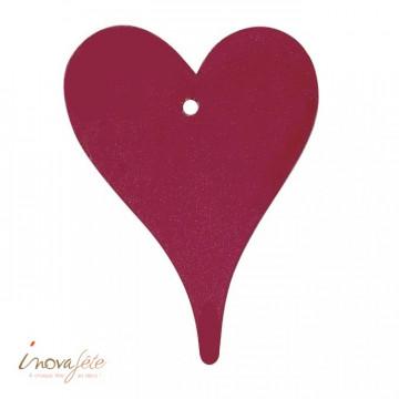 Coeur en bois rouge bordeaux - Label Fête