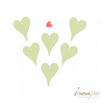 Coeur en bois vert pâle /6 - Label Fête