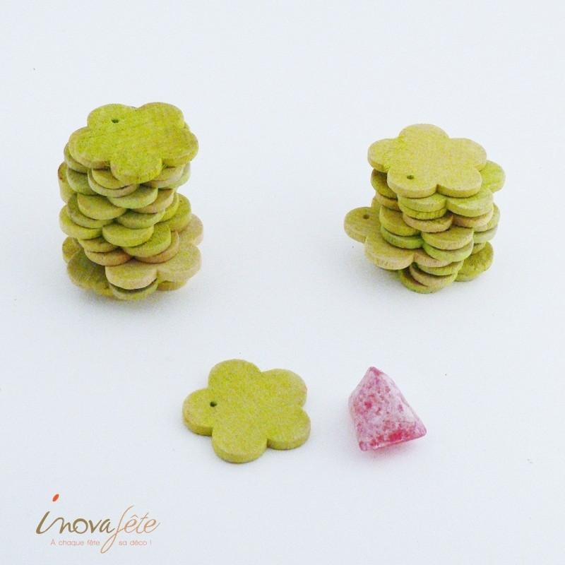 Fleur de bois verte /24 - Label Fête