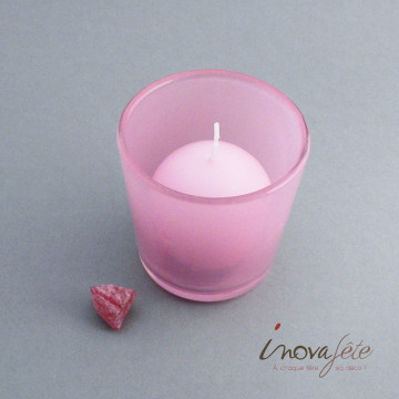 Photophore en verre fumé rose - Label Fête