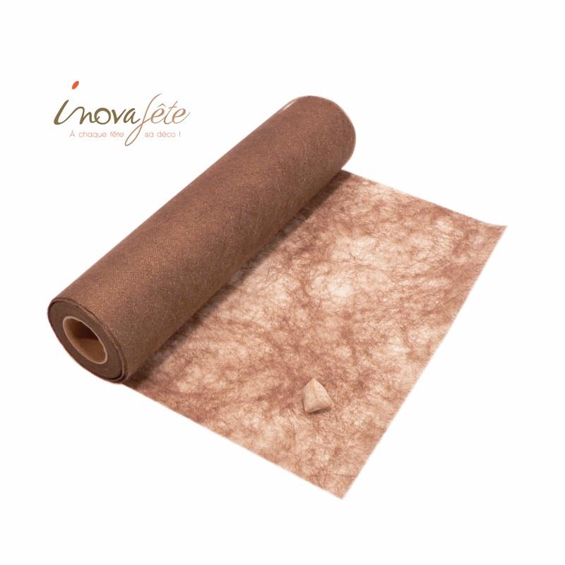 Chemin de table polytulle nacré chocolat  0.30x25m - Label Fête