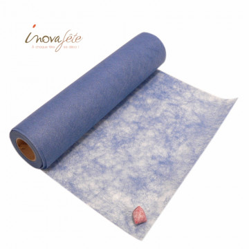 Chemin de table poly-tulle nacré bleu 0.30x25m - Label Fête