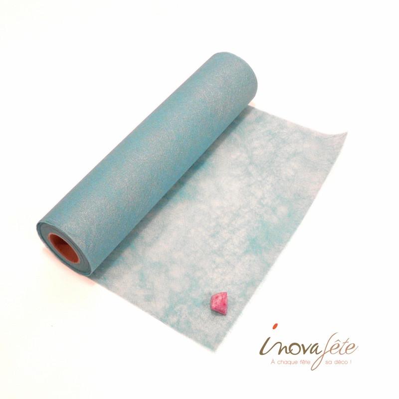Chemin de table poly-tulle nacré bleu clair 0.30x25m - Label Fête