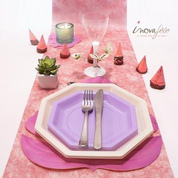 Chemin de table polytulle nacré rose corail 0.30x25m - Label Fête