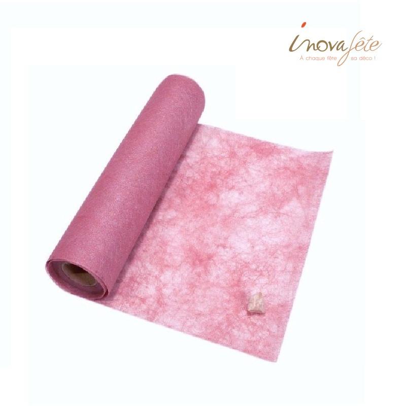 Chemin de table polytulle nacré rose 0.30x25m