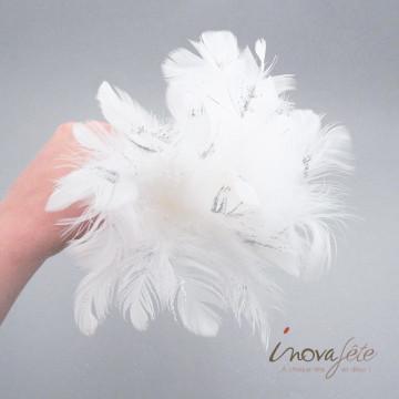Tige de plumes blanches pailletées /8 - Label Fête