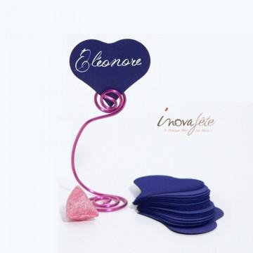 Étiquette cœur bleu marine /25 - Label Fête
